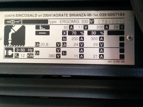 SINCOSALD ERGOMIG 330 + COMBI 2R - SCHEDA248 - Usato